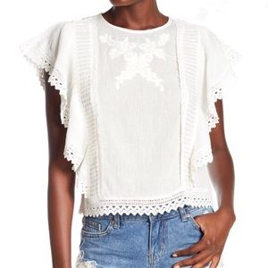 Nordstrom Dex flutter sleeve embroidery blouse